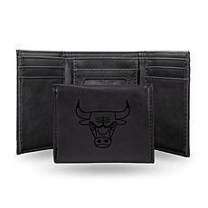 Rico Laser-Engraved Black Tri-fold Wallet - Bulls
