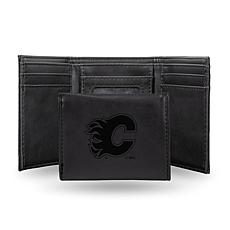 Rico Laser-Engraved Black Tri-fold Wallet - Flames