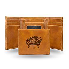Rico Laser-Engraved Brown Tri-fold Wallet - Blue Jackets