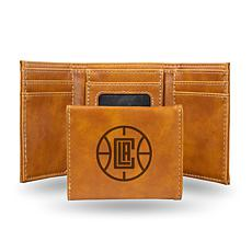 Rico Laser-Engraved Brown Tri-fold Wallet - Clippers