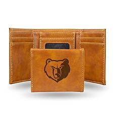 Rico Laser-Engraved Brown Tri-fold Wallet - Grizzlies