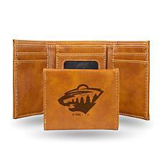 Rico Laser-Engraved Brown Tri-fold Wallet - Wild