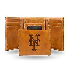 Rico Mets Laser-Engraved Brown Trifold Wallet