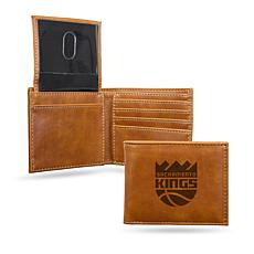 Rico NBA Laser-Engraved Brown Billfold Wallet - Kings