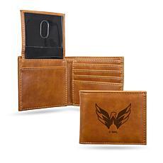 Rico NHL Laser-Engraved Brown Billfold Wallet - Capitals