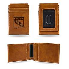 Rico NY Rangers Laser-Engraved Brown Front Pocket Wallet