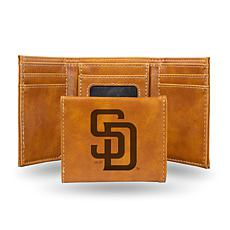 Rico Padres Laser-Engraved Brown Trifold Wallet