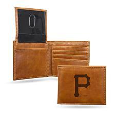 Rico Pirates Laser-Engraved Brown Billfold Wallet
