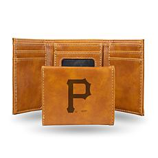 Rico Pirates Laser-Engraved Brown Trifold Wallet