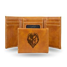 Rico Ravens Laser-Engraved Brown Trifold Wallet