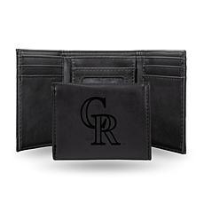 Rico Rockies Laser-Engraved Black Trifold Wallet