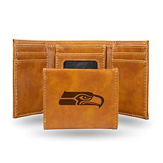 Rico Seahawks Laser-Engraved Brown Trifold Wallet