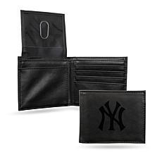 Rico Yankees Laser-Engraved Black Billfold Wallet