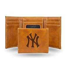 Rico Yankees Laser-Engraved Brown Trifold Wallet