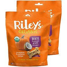 Riley's Organics  Pumpkin & Coconut Large Bone Dog Treats 2 Pack 5 ...