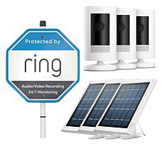 Ring Stick Up Cam 3-pack with 3 Solar Panels, Yard Sign & Ring Assist+