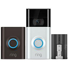 Ring Video Doorbell 2 HD Security with Extra Battery & 3-Year Warranty