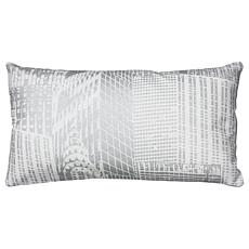 "Rizzy Home 11"" x 21"" White Metallic Accent Pillow"