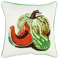 """Rizzy Home Embroidered Gourds & Pumpkins 20"""" x 20"""" Throw Pillow"""