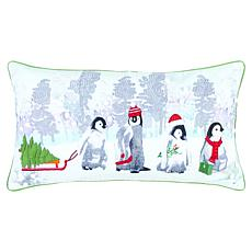 """Rizzy Home Penguin Family 14"""" x 26"""" Holiday Decorative Throw Pillow"""