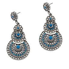 "R.J. Graziano ""Best West"" Simulated Turquoise Drop Earrings"