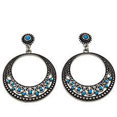 "R.J. Graziano ""Best West"" Turquoise-Color Stone Hoop Drop Earrings"