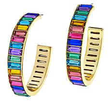 R.J. Graziano Crystal Baguette Hoop Earrings
