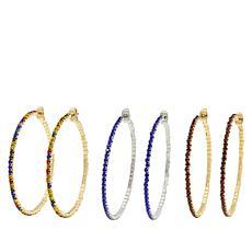 """R.J. Graziano """"Easy Glow"""" 3-piece Crystal Hoop Earring Set"""