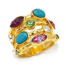 "R.J. Graziano ""Glow On"" Colored Crystal Band Ring"