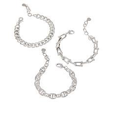"""R.J. Graziano """"Luxury Links"""" 3-piece Bracelet Set"""