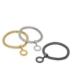 R.J. Graziano Mesh Charm 3-piece Stretch Bracelet Set