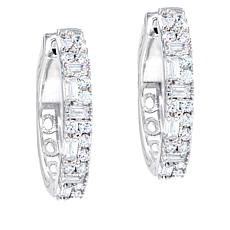 "Robert Manse ""CZ RoManse"" Baguette and Round Hoop Earrings"