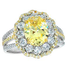 "Robert Manse ""CZ RoManse"" Clear and Canary Oval Ring"