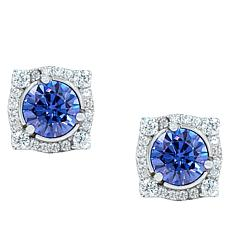 "Robert Manse ""CZ RoManse"" Clear and Tanzanite-Color CZ Stud Earrings"