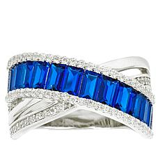 "Robert Manse ""CZ RoManse"" Crossover Design Colored Stone Band Ring"