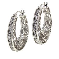 "Robert Manse ""CZ RoManse"" Cubic Zirconia Lattice Pattern Hoop Earrings"