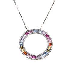 """Robert Manse """"CZ RoManse"""" Multi-Color Baguette Circle Necklace"""