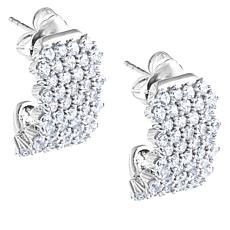 "Robert Manse ""CZ RoManse"" White Cubic Zirconia Wide J-Hoop Earrings"