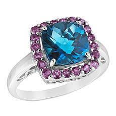 "Robert Manse ""Gem RoManse"" Sterling Silver Multi-Gem Square Ring"