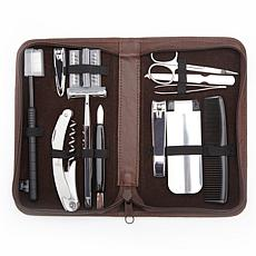 Royce Nappa Leather Grooming & Travel Kit with 12 Items