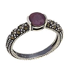 Ruby and Gray Marcasite Sterling Silver Ring - July