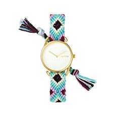 RumbaTime Goldtone White, Purple & Blue Braid Watch