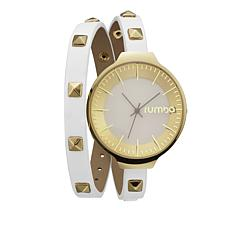 RumbaTime Orchard White Studded Double Wrap Strap Watch
