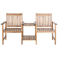 Safavieh Brea Twin-Seat Bench - Teak Brown Finish