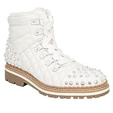 Sam Edelman Bren Studded Leather and Quilted Fabric Lace-Up Boot