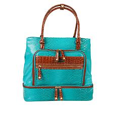 Samantha Brown Croco-Embossed Insulated Drop Bottom Tote