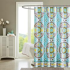 "Samara Medallion-Design Shower Curtain - Aqua/72"" x 72"""