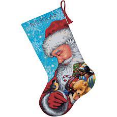Santa And Toys Needlepoint Stocking Kit