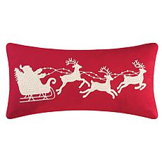Santa Sleigh On Red Rice Stitch Pillow