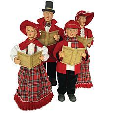 "Santa's Workshop 20""-27"" Red Plaid Caroling Family Figurines"